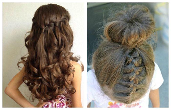 Прически в школу коса водопад и пучок на основе бублика с косой для подростков, фото