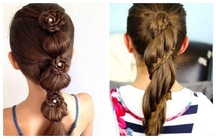 Прически в школу с интересным плетением на длинные волосы, фото