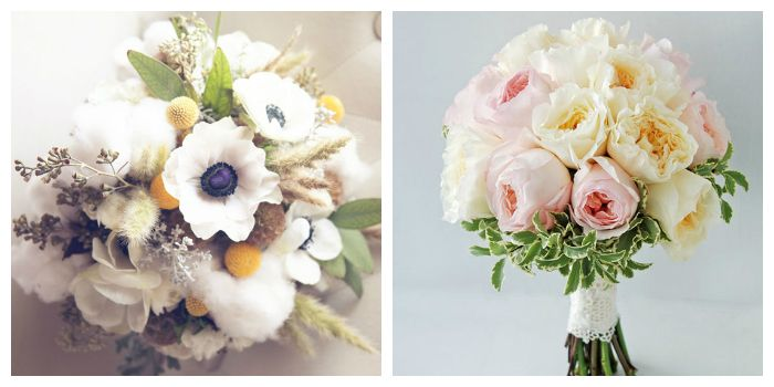 Стильные бело-розовые букеты с пионами, розами и анемонами, фото
