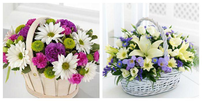 Прекрасный подарок - цветы в корзине, фото