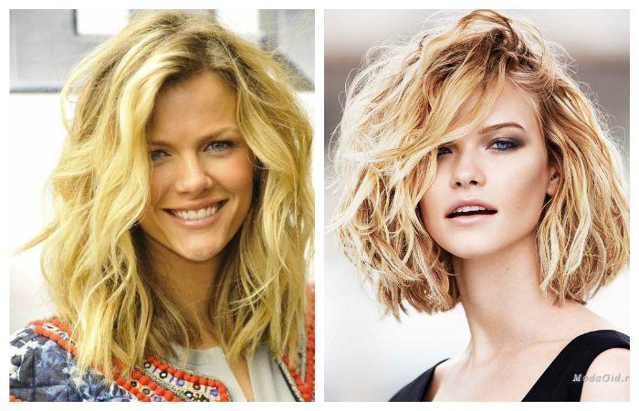 Укладка волос на средние волосы, фото