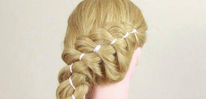 Пошаговое плетение косы с лентой, фото