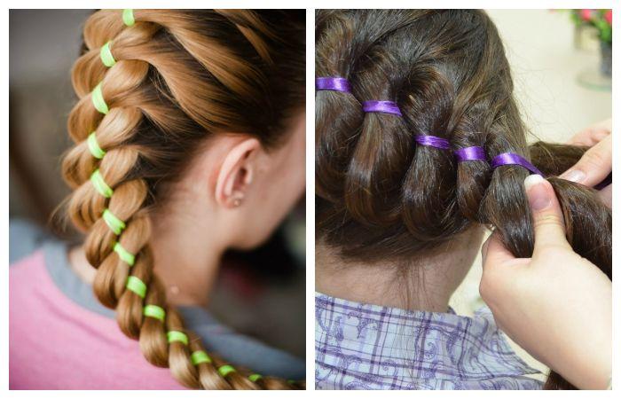 Плетение кос с лентой, фото