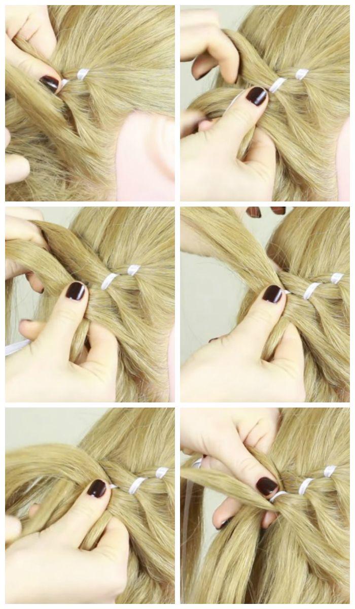 Черытехпрядная коса с лентой: поэтапное плетение, фото