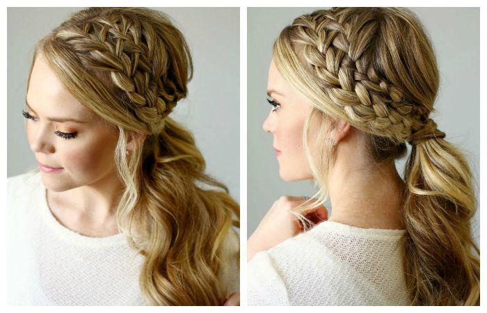 Красивая прическа с двойным плетением косы
