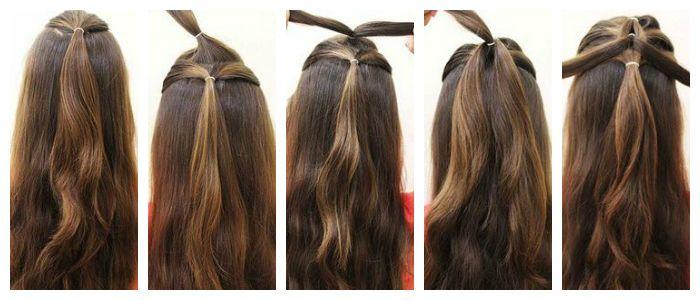 Пошаговое фото плетения косы с помощью резинок
