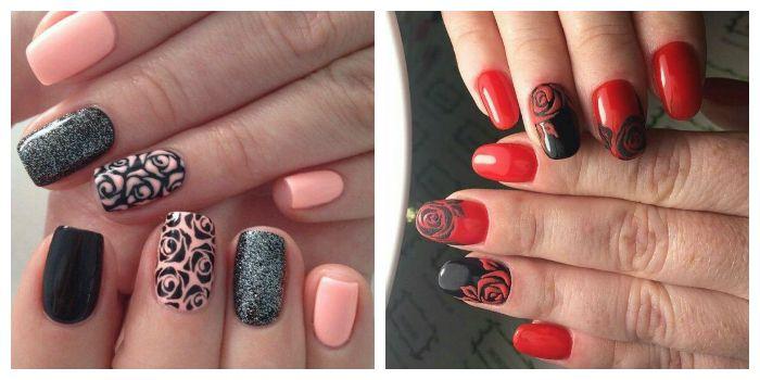 Розы на ногтях гель-лаком