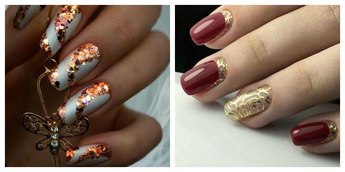 Золотые рисунки на ногтях