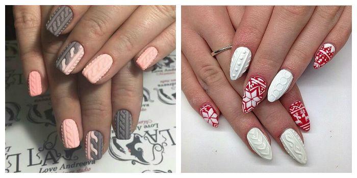 """Объемные рисунки на ногтях """"Свитер"""""""