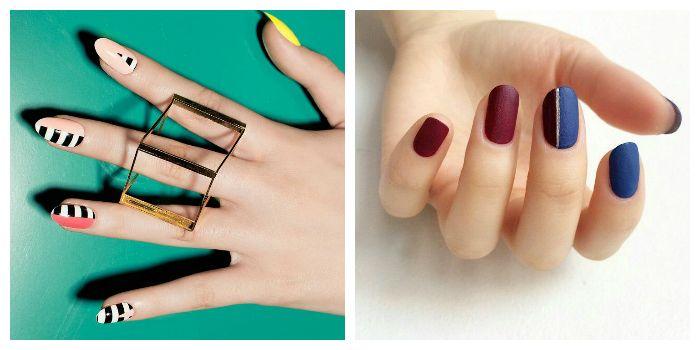 Рисунок на ногтях с помощью скотча
