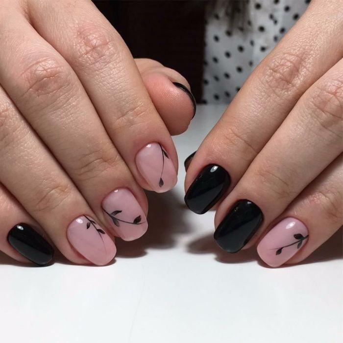 Рисунок на короткие ногти гель лаком с цветами