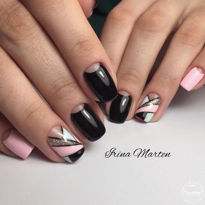 Геометрический рисунок на короткие ногти гель лаком