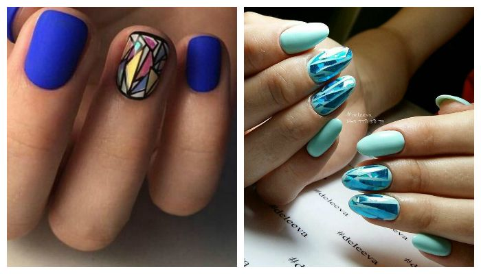 Рисунки битым стеклом на ногтях