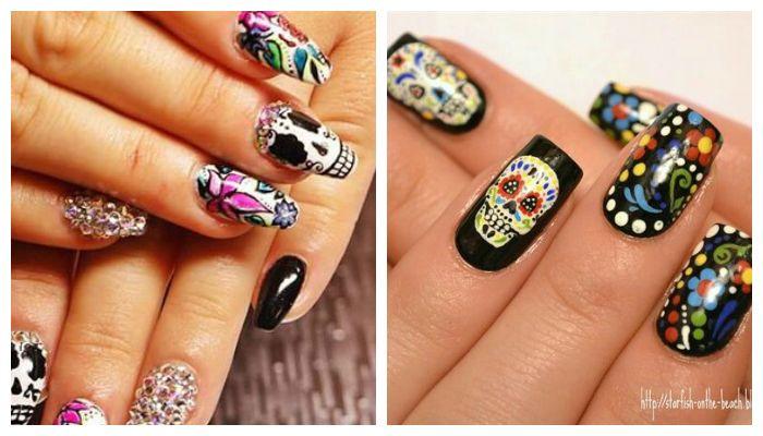 Рисунки на ногтях в стиле Santa Muerte