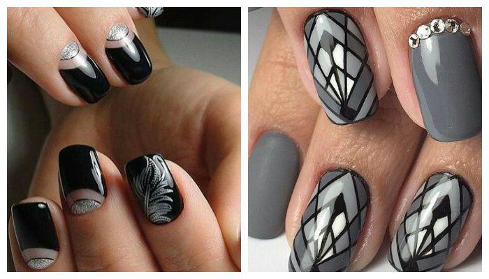 Серо-черные рисунки на ногтях