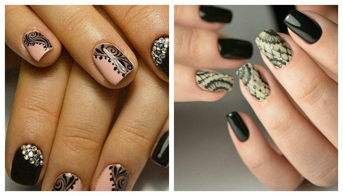 Рисунки на ногтях черным гель-лаком