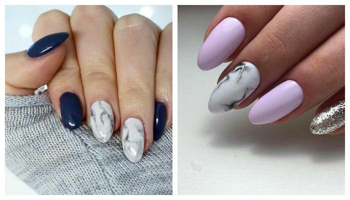 Фактурные рисунки на ногтях - мрамор