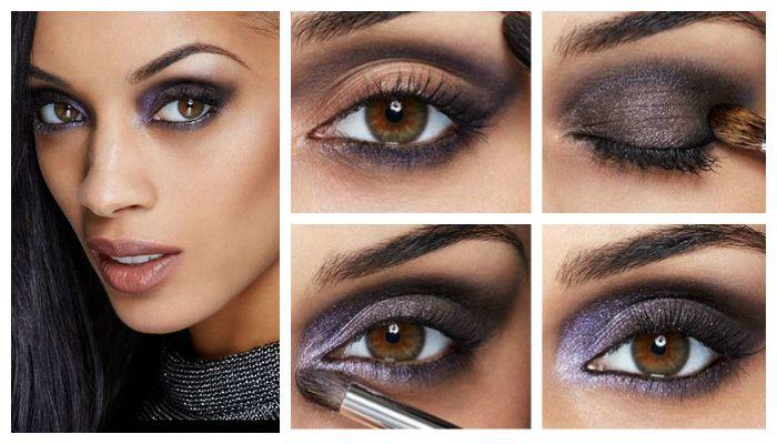 Пошаговое фото выполнения модного вечернего макияжа для карих глаз