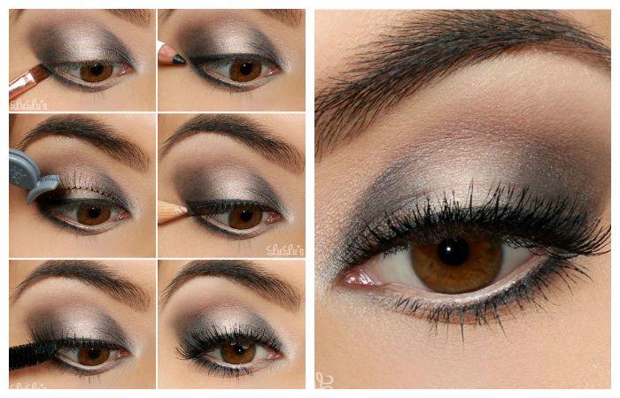 Пошаговое фото выполнения серого макияжа для карих глаз