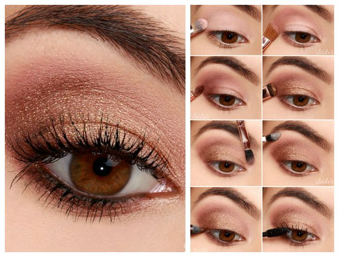 Пошаговое фото выполнения бронзового макияжа для карих глаз