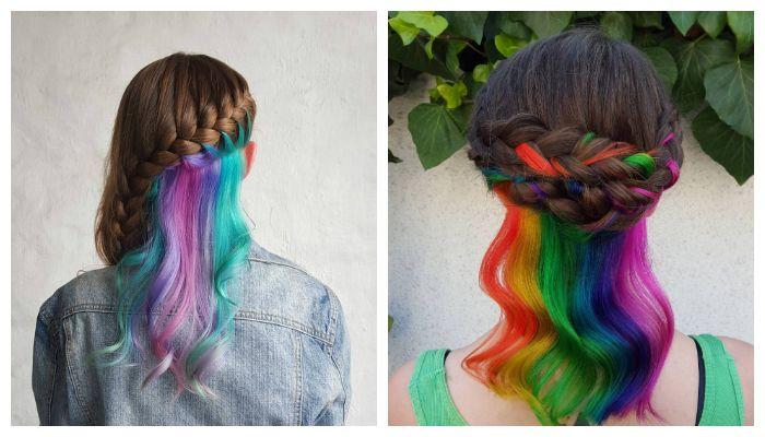 Радужное окрашивание волос средней длины