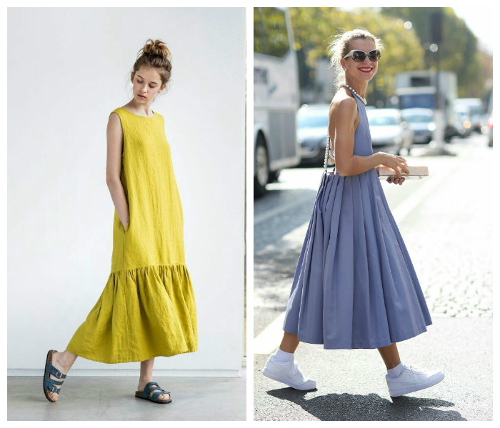Модные длинные платья на лето