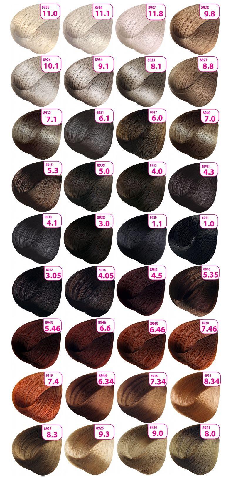 Палитра цветов краски для волос Faberlic Krasa