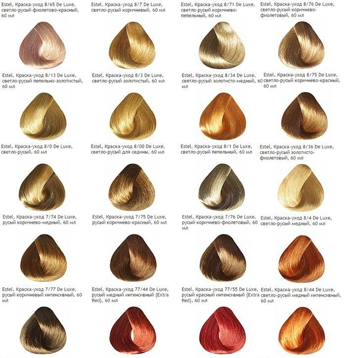 Палитра цветов краски для волос Estel. Русые оттенки