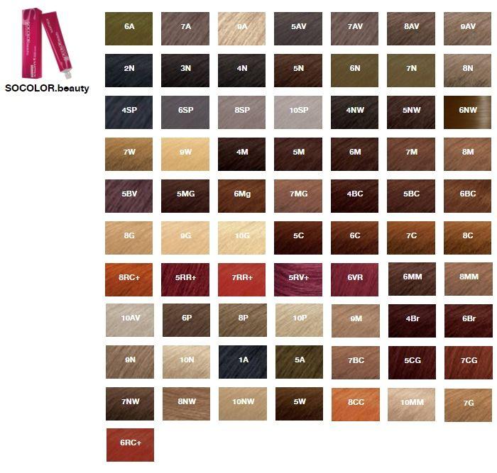 Палитра цветов краски для волос Matrix серии SOCOLOR.beauty