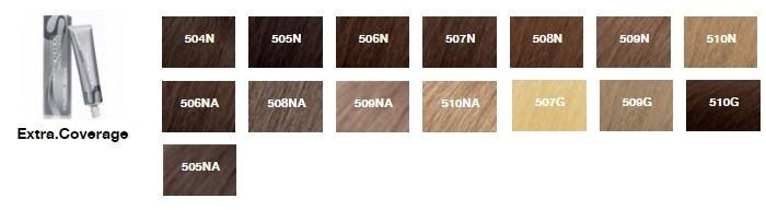 Палитра цветов краски для волос Matrix серии Extra.Coverage