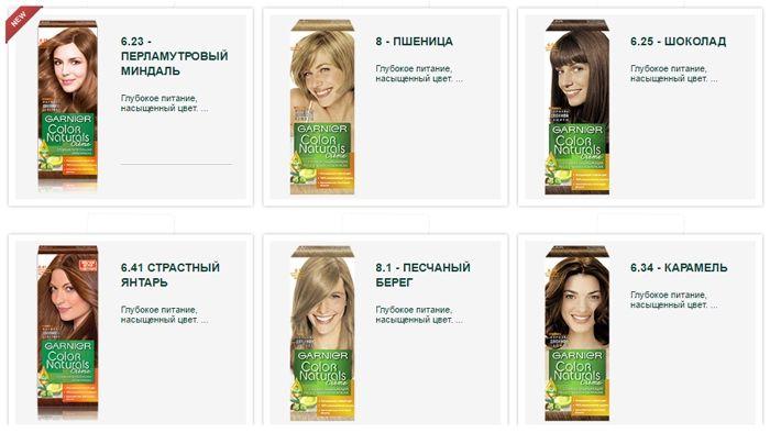 Палитра цветов краски для волос Garnier color naturals. Русые оттенки