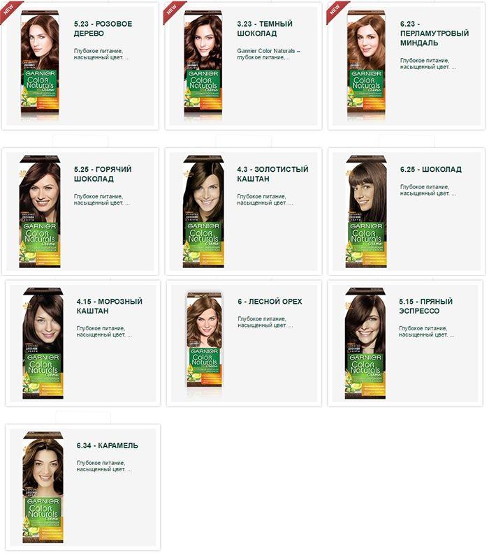 Палитра цветов краски для волос Garnier color naturals. Каштановые оттенки