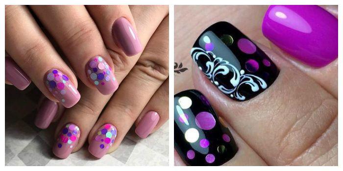 Дизайн ногтей камифубуки с фиолетовым гель-лаком