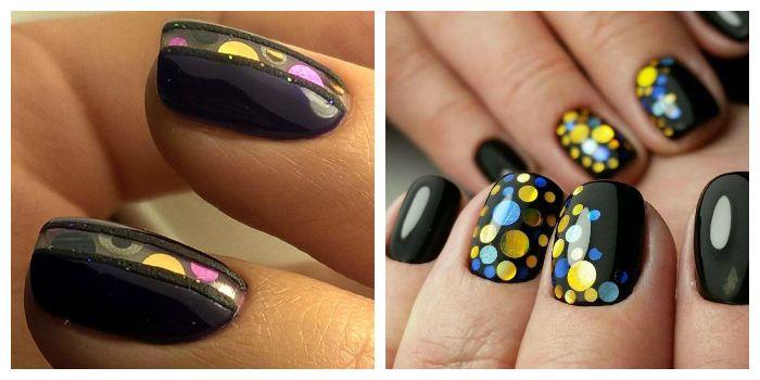 Дизайн ногтей камифубуки с черным гель-лаком