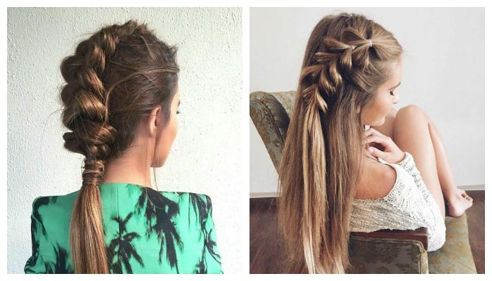 Модное плетение косичек на средние волосы