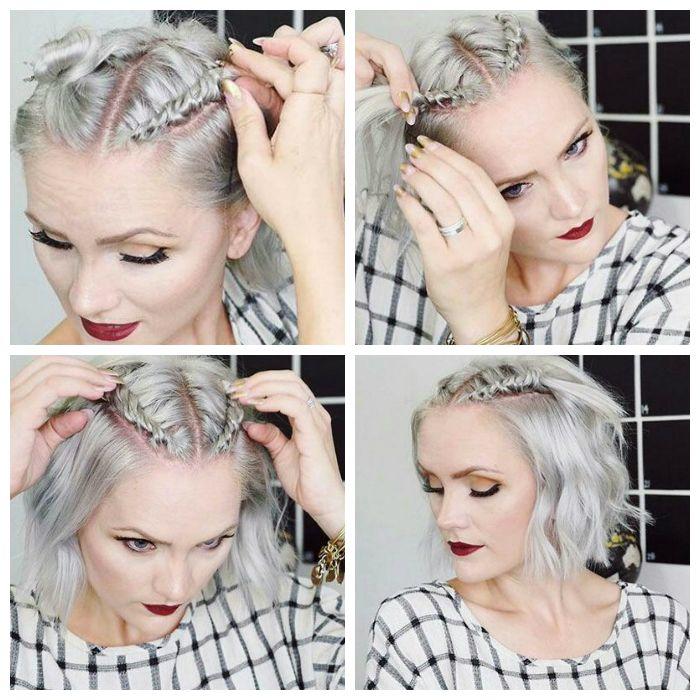 Прическа с двумя модными косичками на средние волосы: пошаговое фото