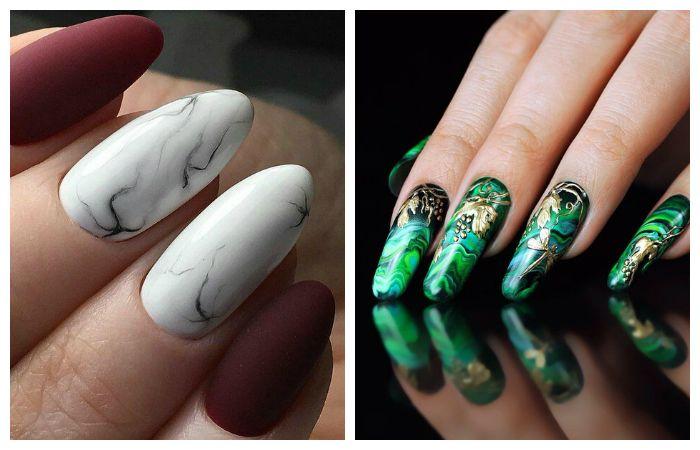 Модный маникюр с эффектом камня