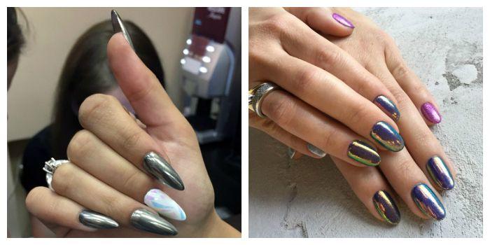 Дизайн ногтей c зеркальным эффектом