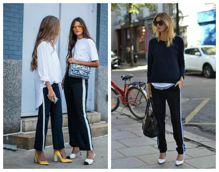 Street style модные брюки с лампасами осень-зима 2017-2018, коллекция фото