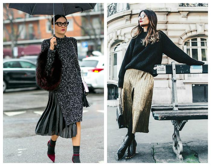 Street style модные юбки осень-зима 2017-2018, коллекция фото