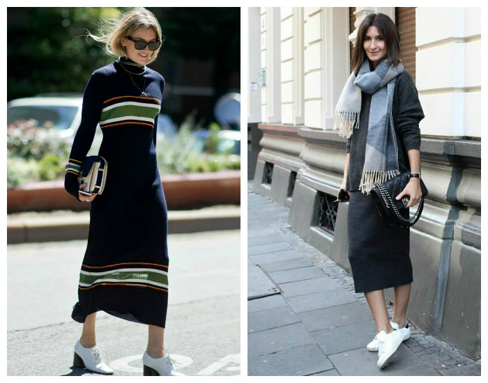 Street style модные платья осень-зима 2017-2018, коллекция фото