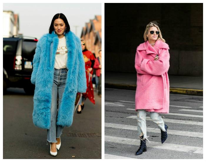 Street style модные пальто и шубки осень-зима 2017-2018, коллекция фото