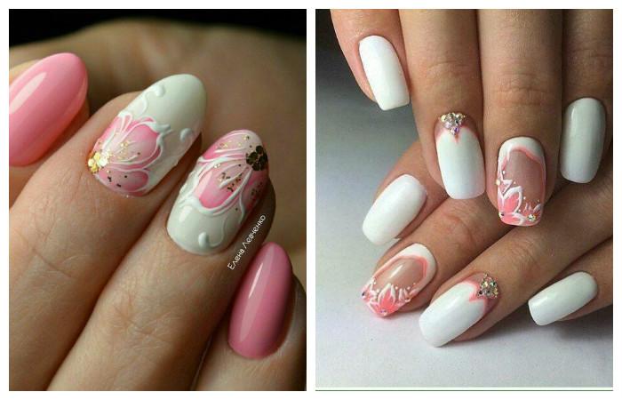 Маникюр розовый с белым