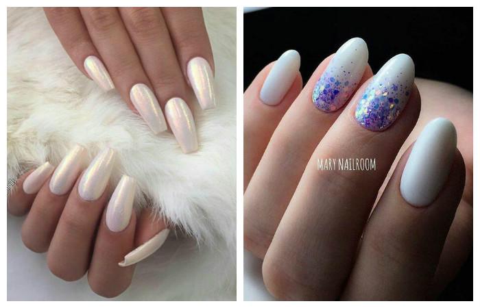 Белые ногти втирка дизайн фото