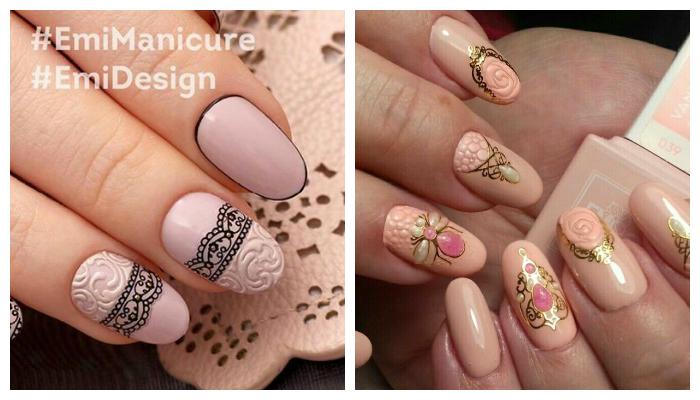 Красивый бежевый дизайн ногтей
