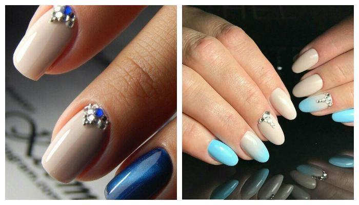Бежево-голубой и бежево-синий дизайн