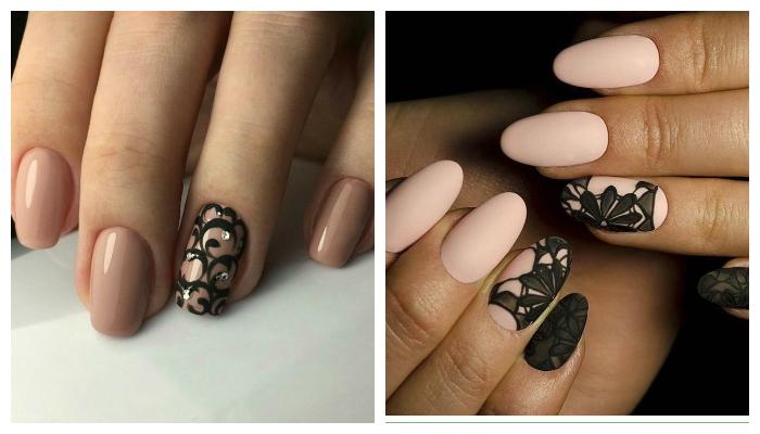 Черно-бежевый кружевной дизайн ногтей
