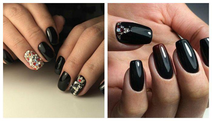 Дизайн ногтей с черным гель-лаком и стразами