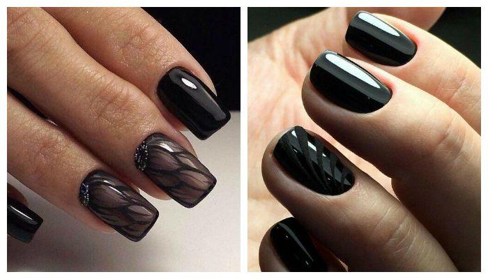 Полуглянцевый черный дизайн ногтей