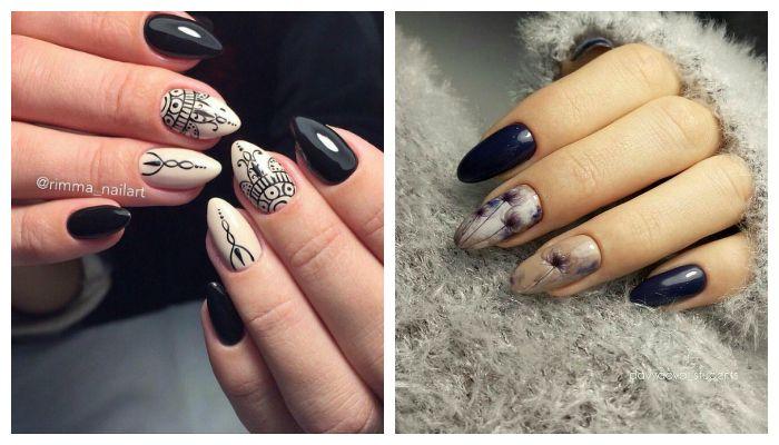 Черно-бежевый дизайн ногтей